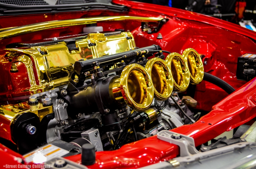 Speaking of shiny things, there was no shortage of squeaky clean engine porn including these gold plated ITB's.